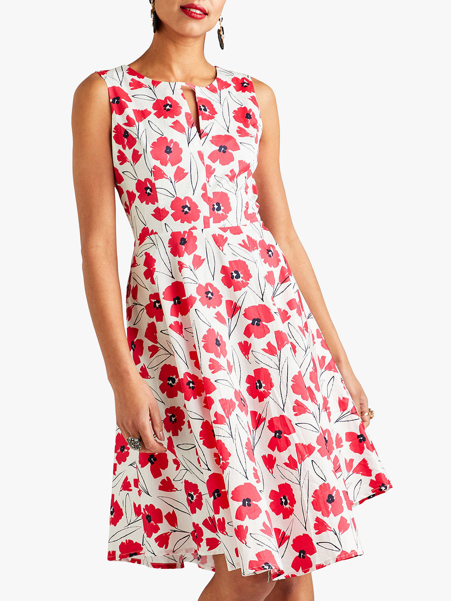 315ab643cd8a2 Yumi Sketchy Flower Cotton Skater Dress, Red/Multi