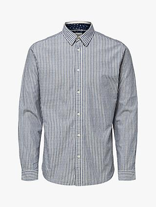 SELECTED HOMME Slim Fit Robert Striped Shirt, Dark Navy Stripes