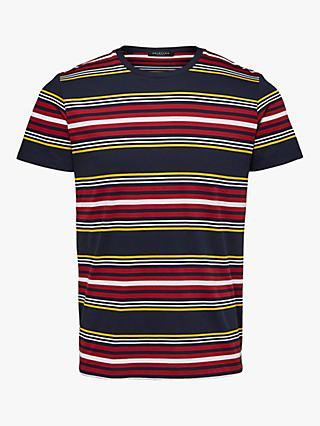 SELECTED HOMME Mullan Stripe T-Shirt, Dark Sapphire