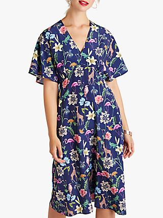 Yumi Tropical Animal Print Kimono Dress, Navy/Multi
