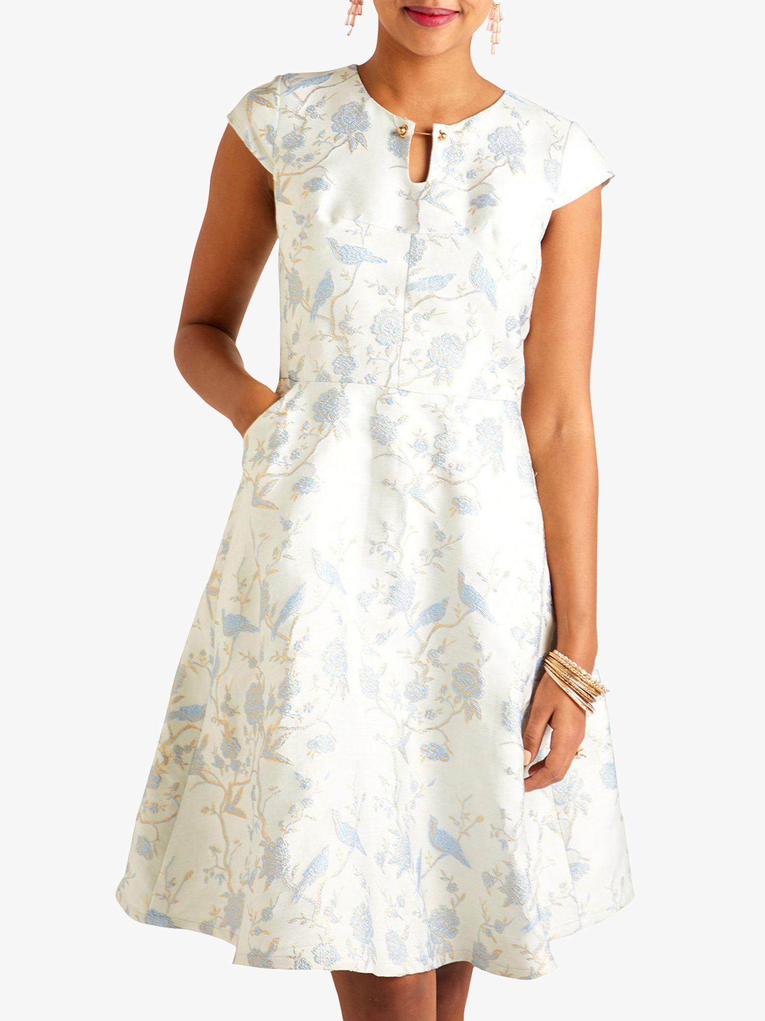 Yumi Yumi Oriental Jacquard Occasion Dress, Blue