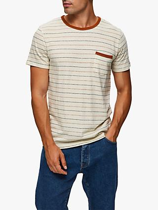 SELECTED HOMME Francis Cotton Linen Stripe T-Shirt, White