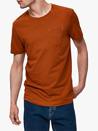 SELECTED HOMME Organic Cotton Short Sleeve T-Shirt, Caramel