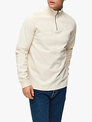 SELECTED HOMME Organic Cotton Zip Sweatshirt, Bone White