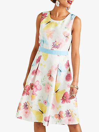 Yumi Pressed Butterfly Print Jacquard Dress, Ivory/Multi