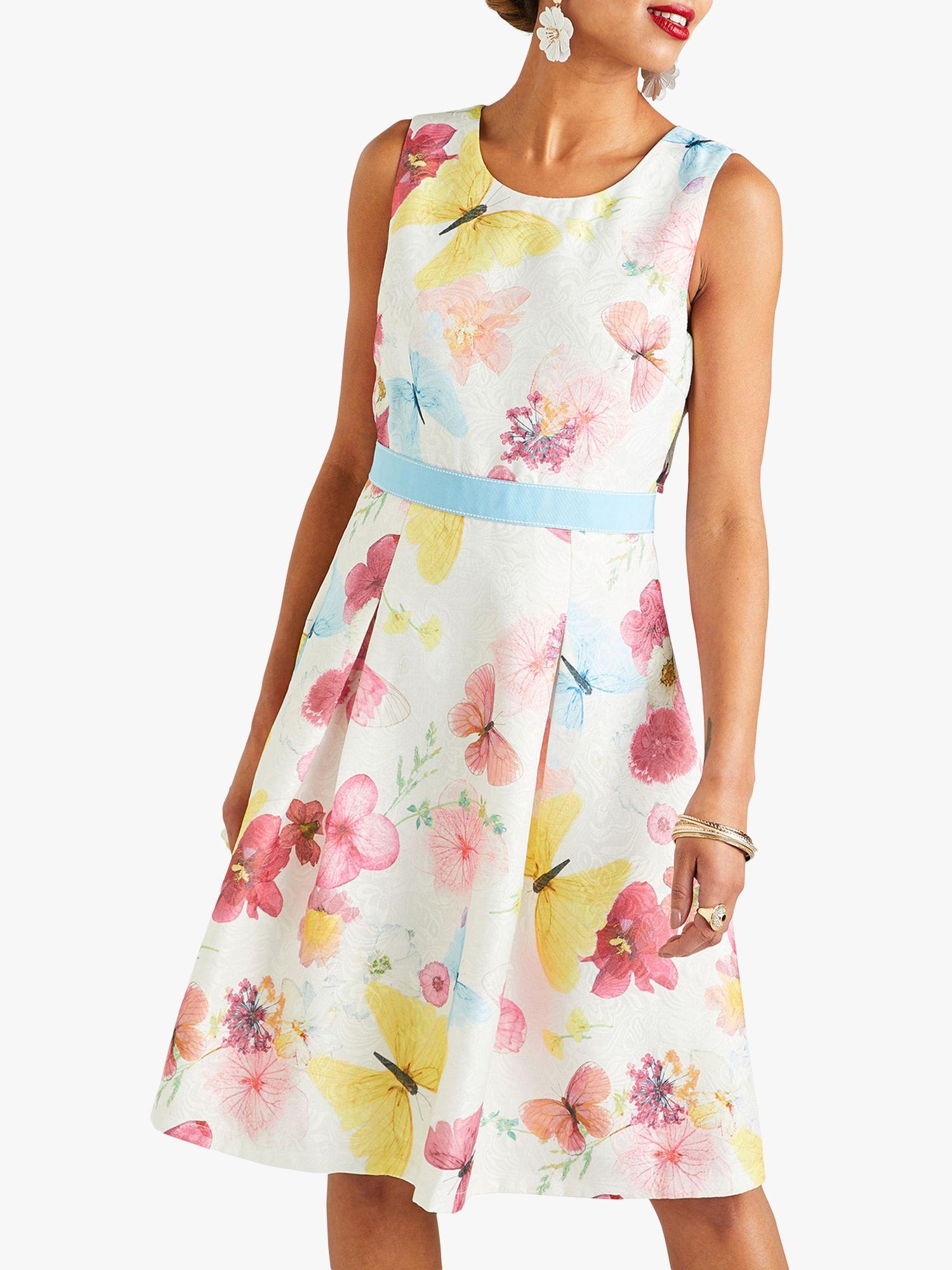 Yumi Yumi Pressed Butterfly Print Jacquard Dress, Ivory/Multi