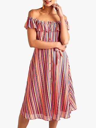 Yumi Colourful Bardot Dress, Multi