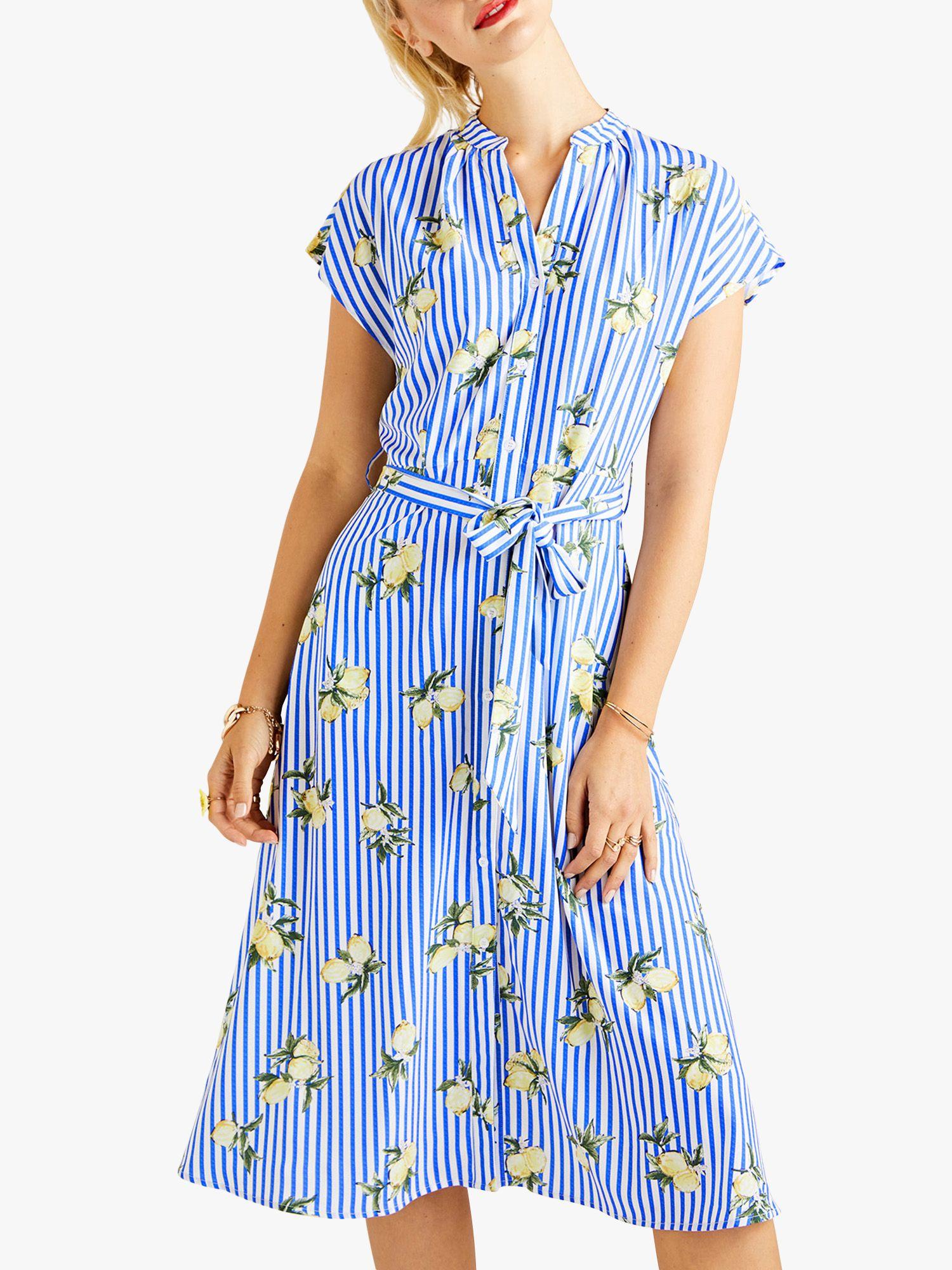 Yumi Yumi Stripe Print Midi Dress, Blue/Multi