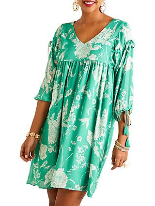 Yumi Floral Print Dress, Green