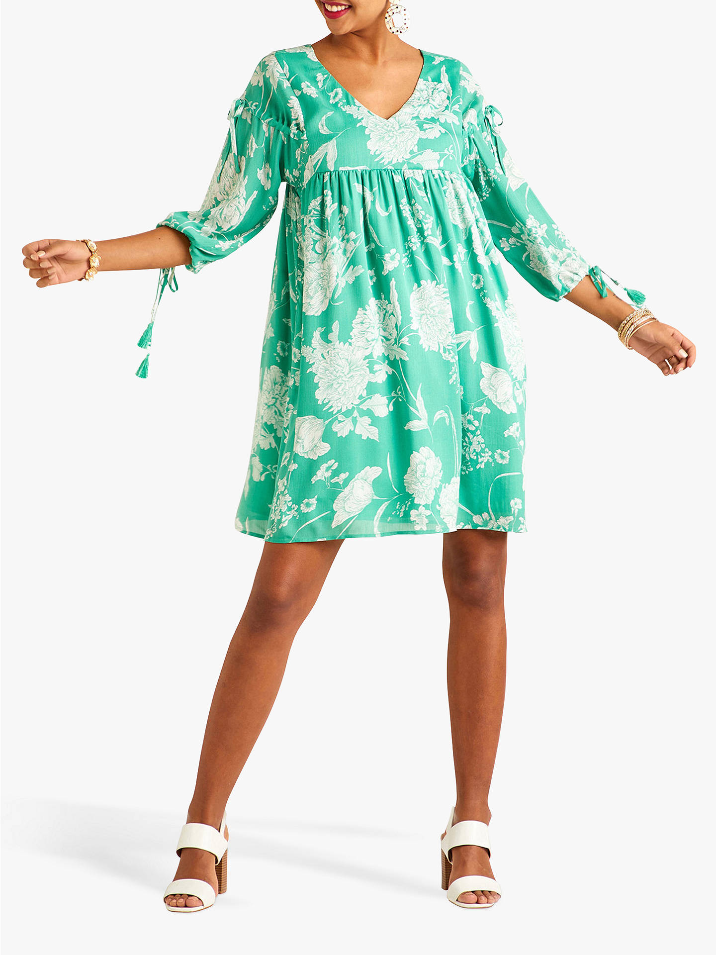 Buy Yumi Floral Print Dress, Green, 10 Online at johnlewis.com