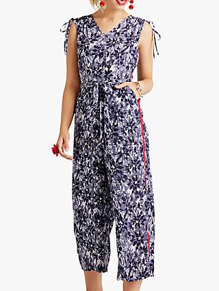 Yumi Floral Print Sleeveless Jumpsuit, Navy