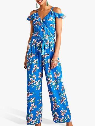 Yumi Cold Shoulder Floral Frill Jumpsuit, Blue