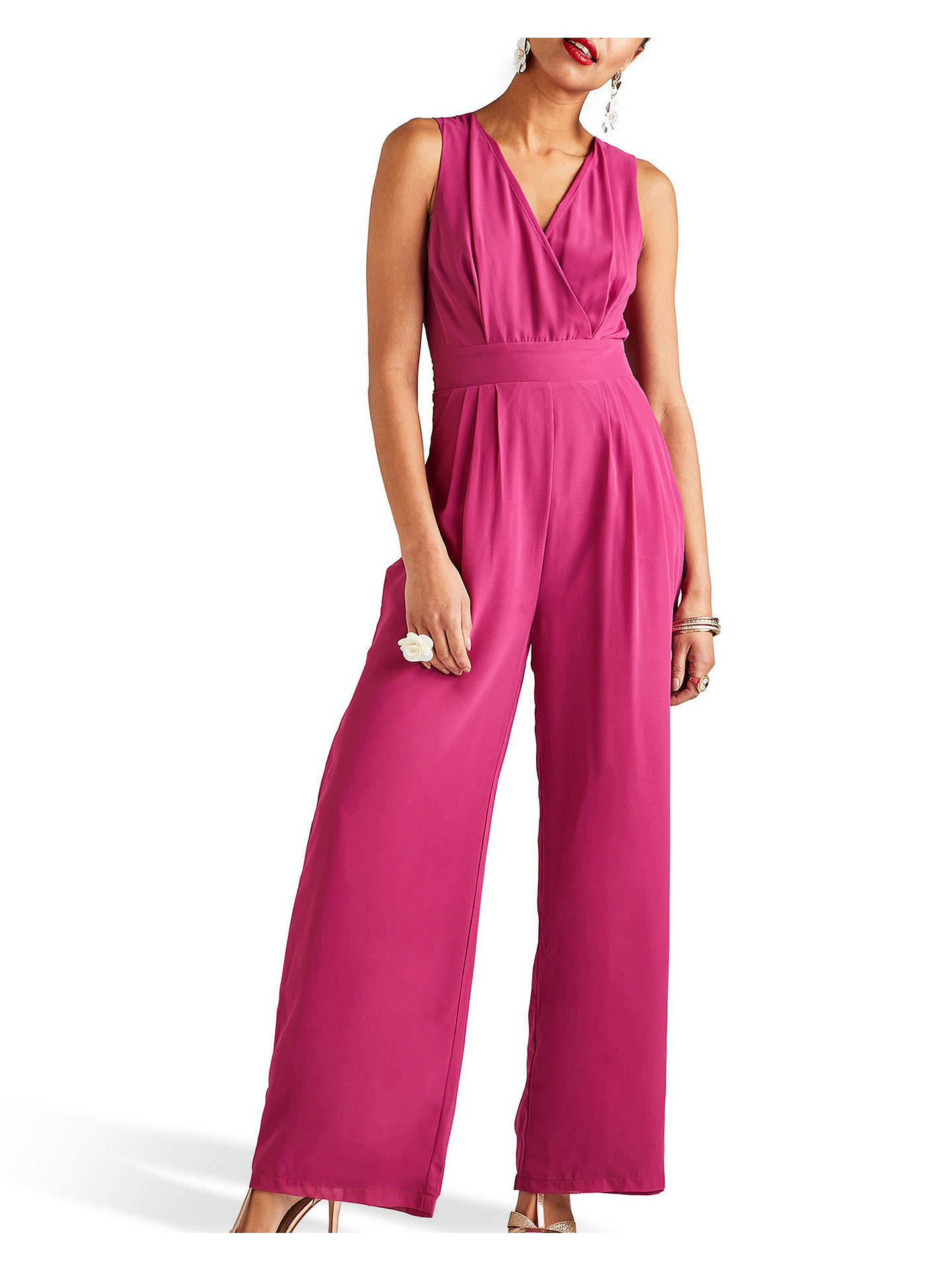 Buy Yumi Sleeveless Wrap Pocket Jumpsuit, Pink, 8 Online at johnlewis.com