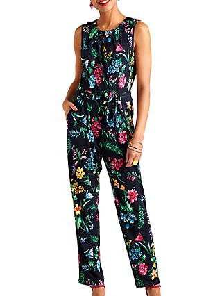 Yumi Tropical Floral Print Sleeveless Jumpsuit, Black