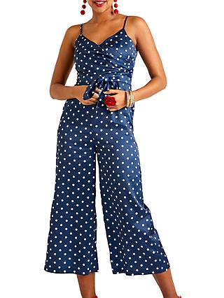 Yumi Polka Print Sleeveless Jumpsuit, Navy