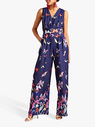 Yumi Butterfly Print Sleeveless Jumpsuit, Navy