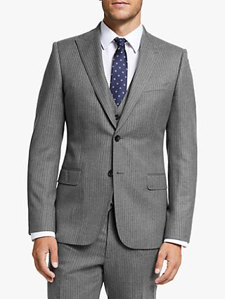 John Lewis & Partners Wool Pinstripe Slim Fit Suit Jacket, Grey