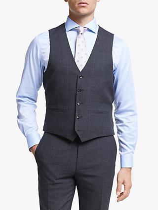 John Lewis & Partners Wool Check Slim Fit Waistcoat, Navy
