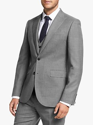 John Lewis & Partners Wool Puppytooth Tailored Fit Suit Jacket, Grey