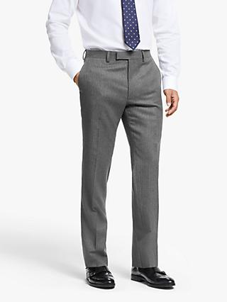 John Lewis & Partners Wool Pinstripe Slim Fit Suit Trousers, Grey