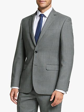 John Lewis & Partners Wool Prince of Wales Check Regular Fit Suit Jacket, Grey