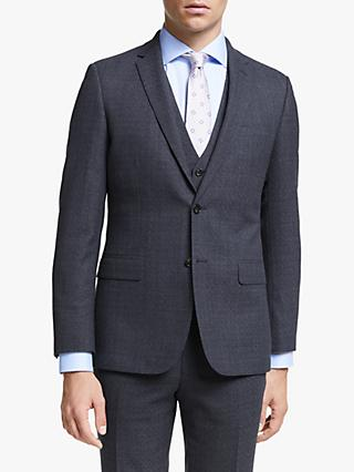John Lewis & Partners Wool Check Slim Fit Suit Jacket, Navy