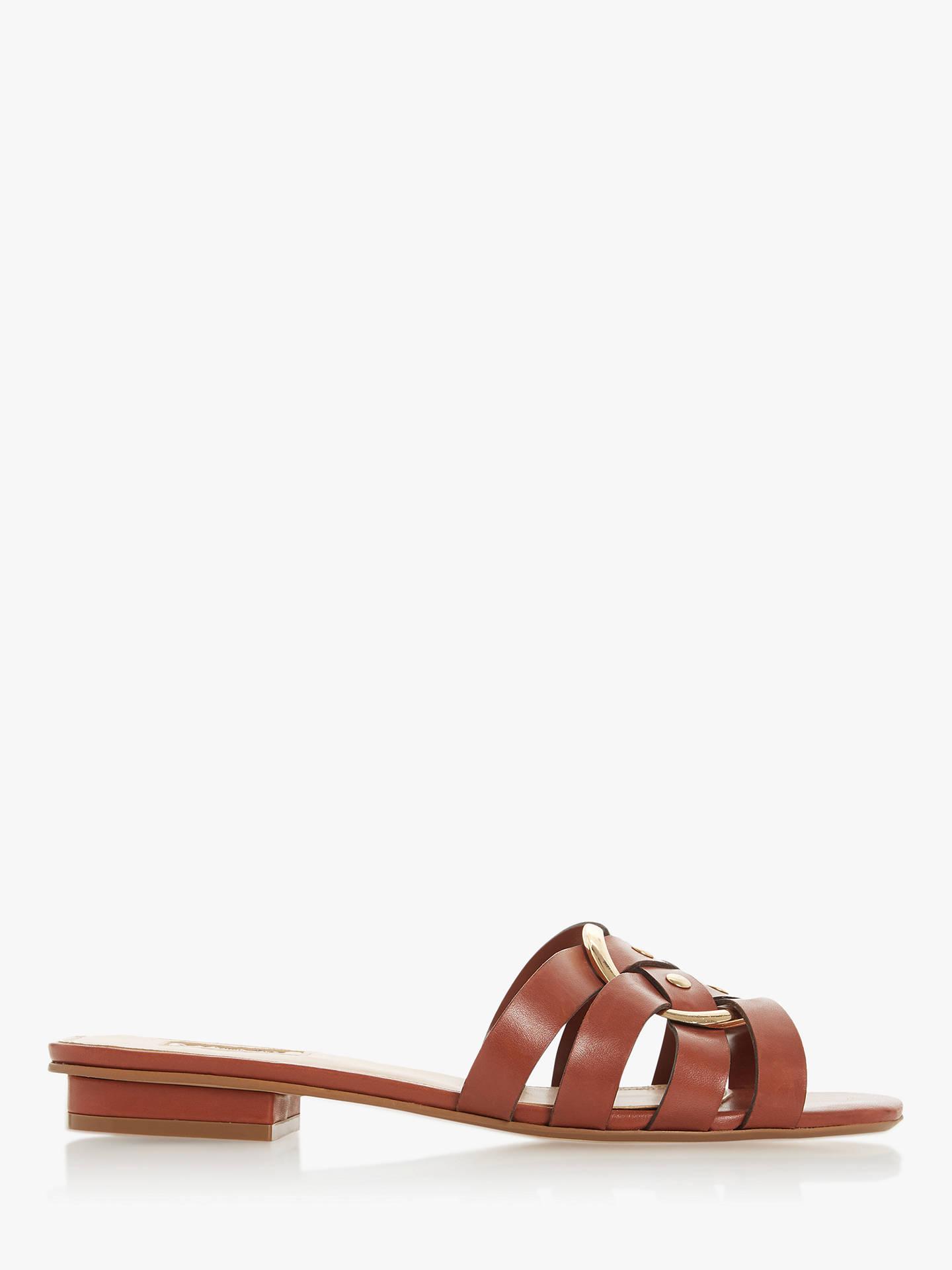 49ee8639 Dune Logan Flat Slip-On Leather Sandals at John Lewis & Partners