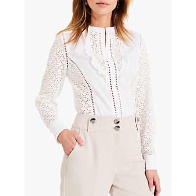 Image of Damsel in a Dress Savi Broderie Shirt, White