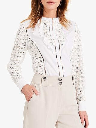 Damsel in a Dress Savi Broderie Shirt, White