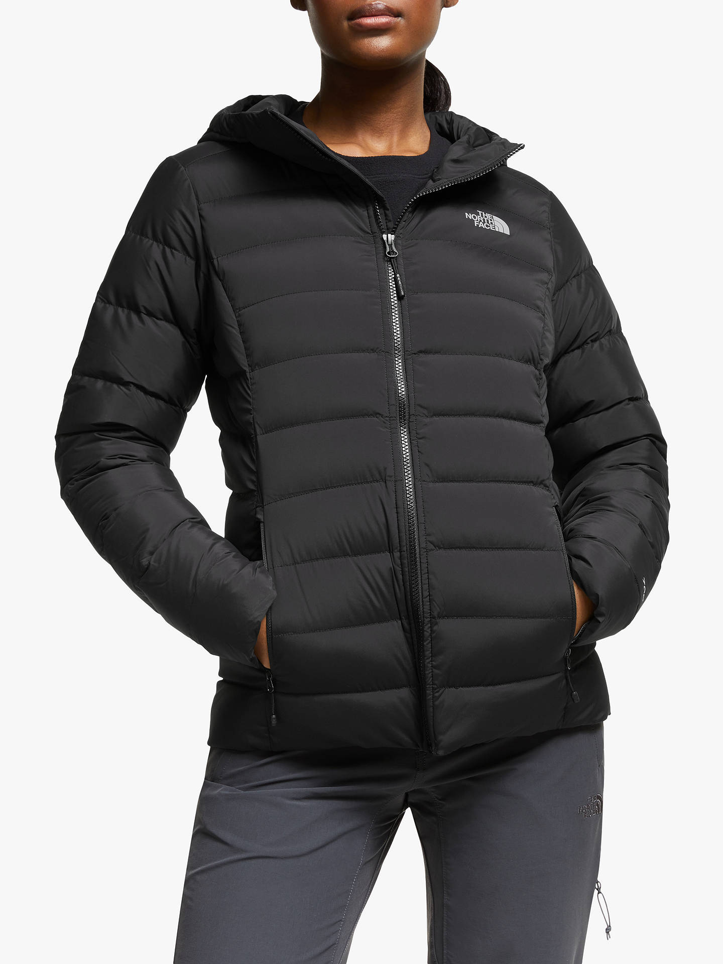 258548194 The North Face Stretch Down Hooded Jacket, TNF Black