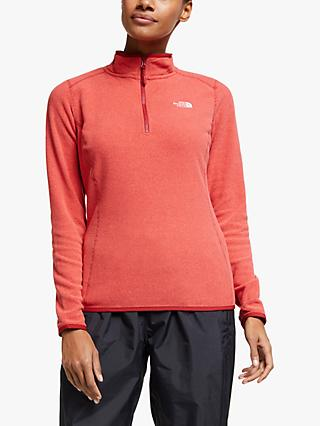 The North Face 100 Glacier 1/4 Zip Women's Fleece Jacket, Cardinal Red/Juicy Red Stripe