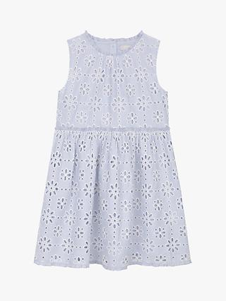 Mintie by Mint Velvet Girls' Broderie Sleeveless Dress, Blue