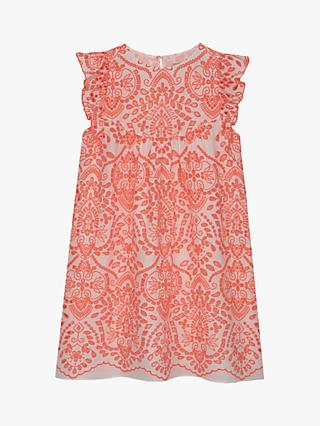 Mintie by Mint Velvet Girls' Broderie Dress, White/Red