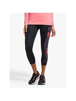 Ronhill Momentum Sculpt Cropped Running Tights, Black/Hot Pink Wave