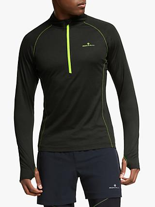 Ronhill Infinity Merino 1/2 Zip Running Top, Black/Fluo Yellow