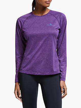 Ronhill Momentum Long Sleeve Running Top, Blackberry Marl/Aquamint