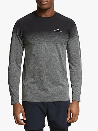 Ronhill Infinity Marathon Long Sleeve Running Top, Black/Grey Marl