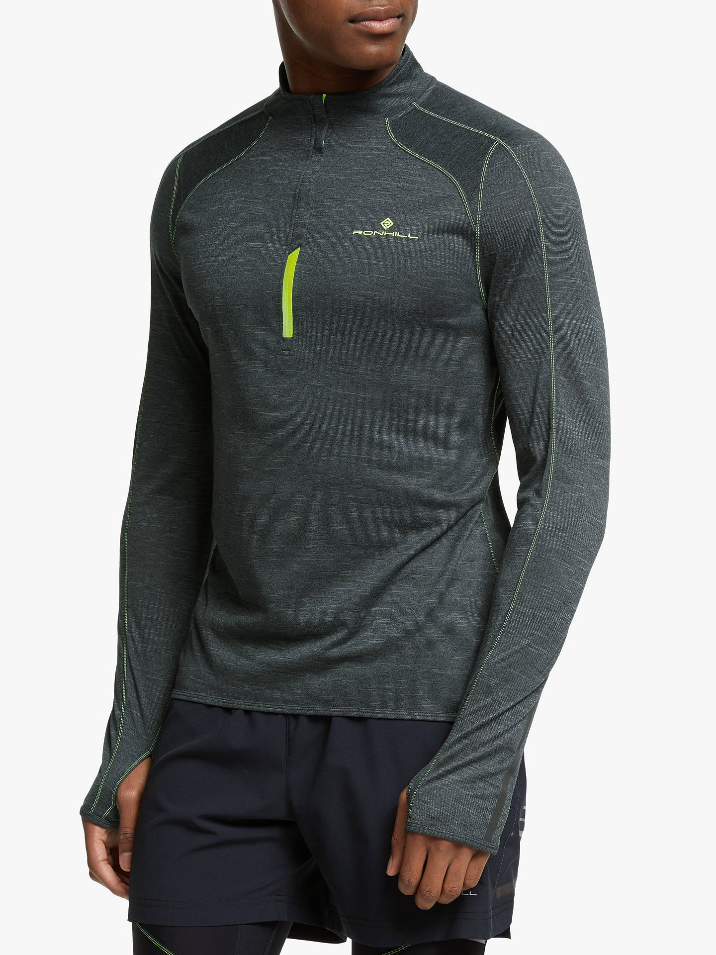 Ronhill Everyday Mens Yellow Crew Neck Long Sleeve Running Sports Top