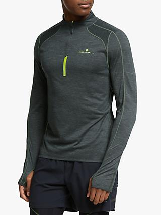 efcb68652 Ronhill Stride Thermal 1/2 Zip Running Top, Charcoal Marl/Florescent Yellow