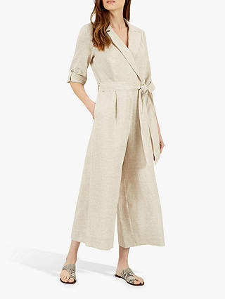 Buy Jaeger Linen Jumpsuit, Natural, 16 Online at johnlewis.com