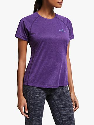 Ronhill Momentum Short Sleeve Running Top, Blackberry Marl/Aquamint
