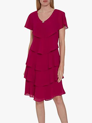 Gina Bacconi Sorina Tiered Dress, Fuchsia