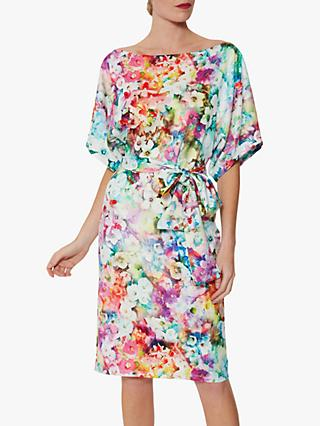 Gina Bacconi Rumina Floral Tie Belt Scuba Dress, Multi