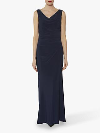 Gina Bacconi Stella Pleat Detail Maxi Dress, Navy