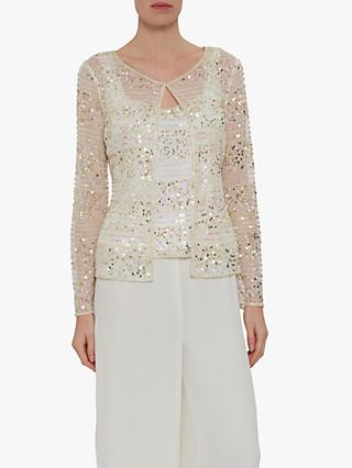 Gina Bacconi Shaina Sequin Sheer Jacket and Cami Top