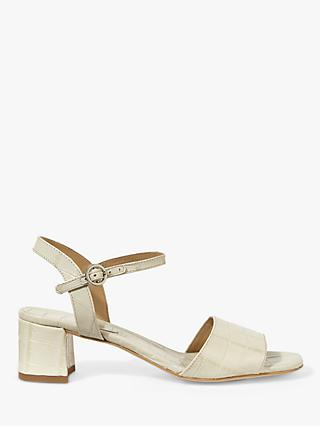 Jigsaw Luella Block Heel Croc Leather Sandals, Cream