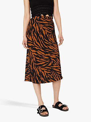87a8de2ab3 Warehouse Tiger Print Midi Skirt, Black Pattern