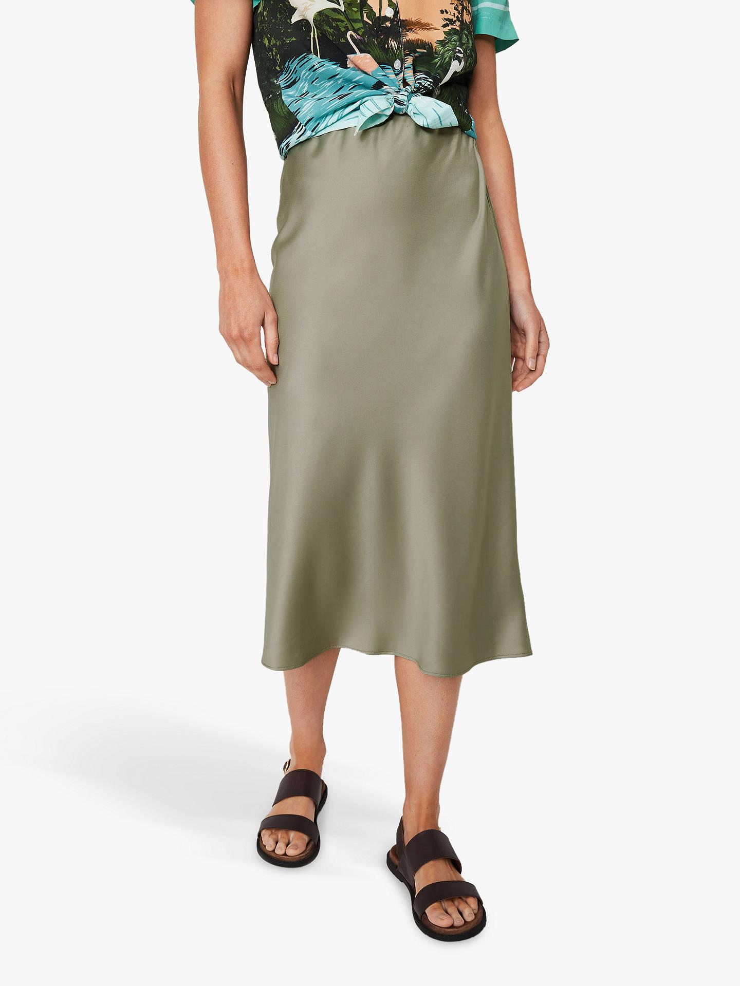 a292fcd123 Buy Warehouse Bias Cut Satin Skirt, Khaki, 6 Online at johnlewis.com ...