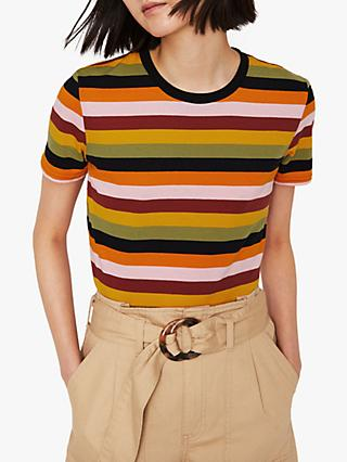Warehouse Multi Stripe Cotton T-Shirt, Multi