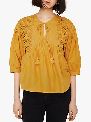 Warehouse Broderie Smock Cotton Top, Mustard